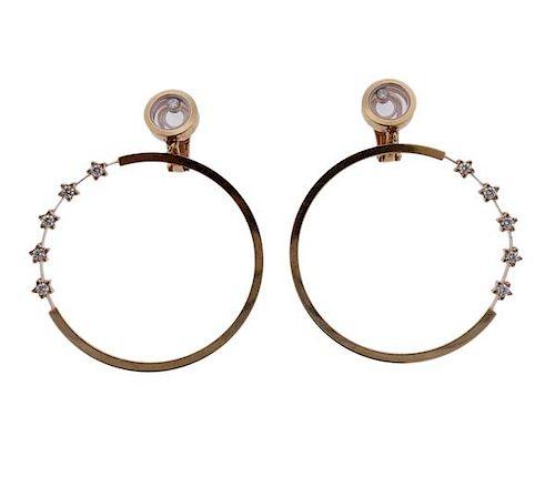 Chopard Happy Diamonds 18K Gold Diamond Hoop Drop Earrings