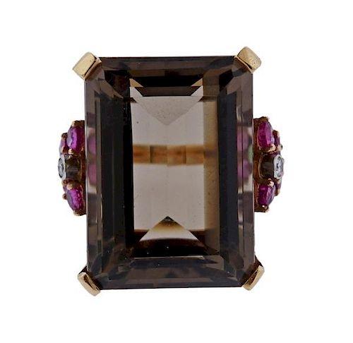 Retro 14K Gold 45ct Smokey Quartz Diamond Ring