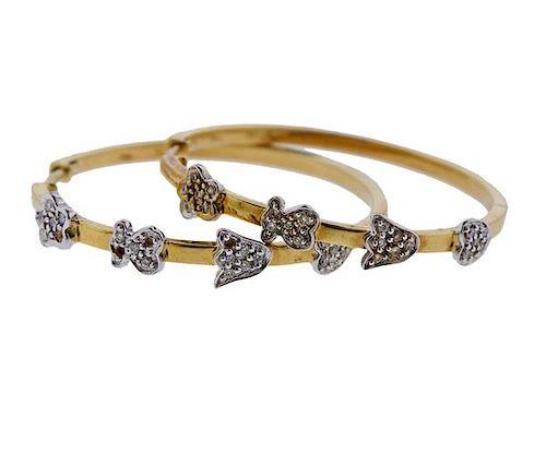 Tous 18K Gold Diamond Hoop Earrings