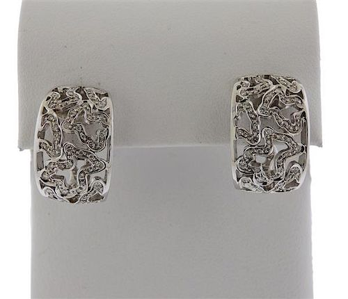 Tous 18k Gold Diamond Half Hoop Earrings
