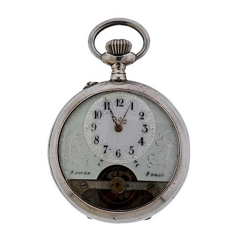 Antique Silver 8 Days Open Face Pocket Watch