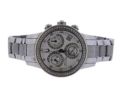 Bulova Accutron Stainless Steel Diamond Chronograph Watch