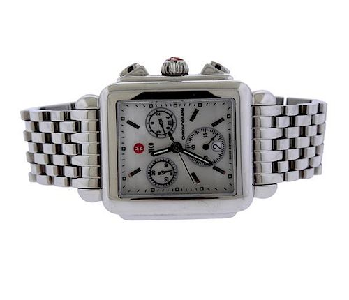 Michele Deco Stainless Steel Chronograph Wacth