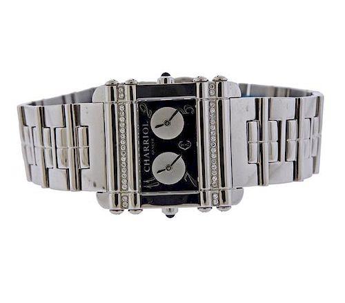 Charriol Actor Dual Time Stainless Diamond Quartz Watch