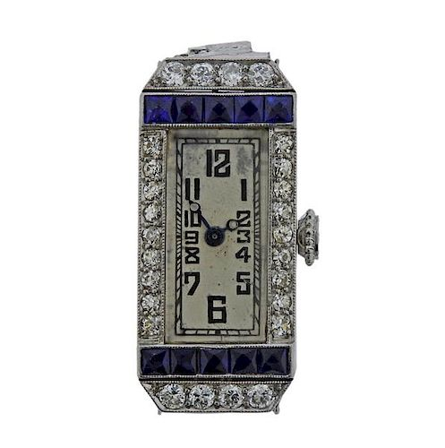 Art Deco Meylan Platinum Diamond Watch