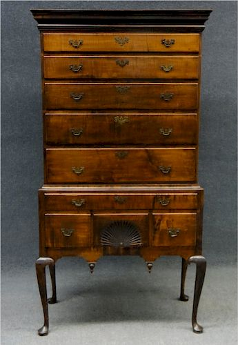 18THC. TIGER MAPLE HIGHBOY W/ FAN CARVING &