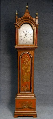 RARE 18THC. CHINOISERIE DECORATED TALL CASE CLOCK