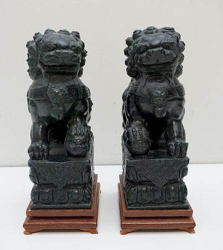 FINE PAIR OF SPINACH GREEN JADE FOO DOGS