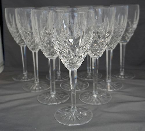 10 WATERFORD CRYSTAL ARAGLIN WATER GOBLETS