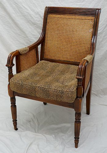 CANE CHAIR WITH CHEETAH PILLOW