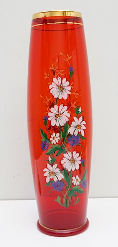 TALL ENAMELED GLASS VASE