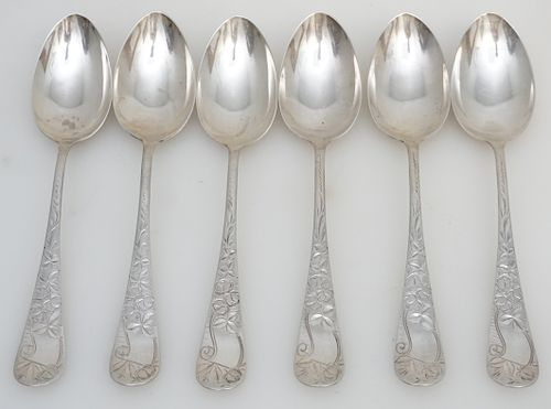6 STERLING 1885 ROSE ENGRAVED SPOONS