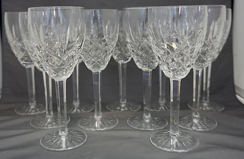 11 WATERFORD CRYSTAL ARAGLIN WINE GLASSES