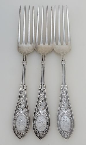 3 STERLING SILVER 1875 ARABESQUE FORKS