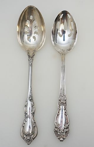 2 SILVER SERVING SPOONS - STERLING & PLATE