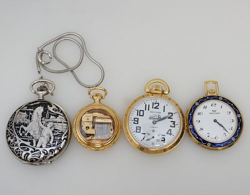 4 POCKET WATCHES WALTHAM + STERLING