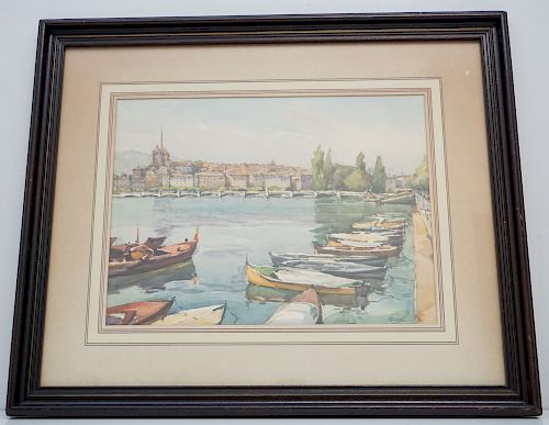 FRENCH WATERCOLOR LITHO - MARC