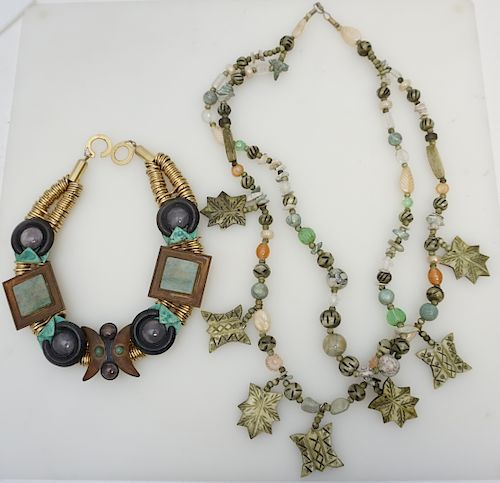 2 LARGE NATURAL STONE STATEMENT NECKLACES