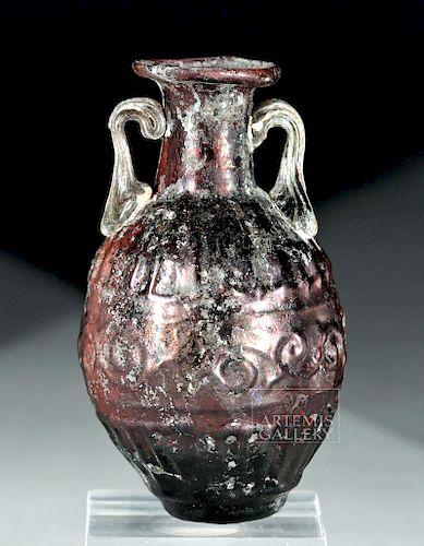 Miniature Sidonian Glass Amphora - Aubergine & Green