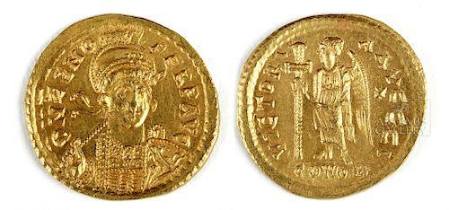 Byzantine Zeno Gold Solidus Coin - 4.5 g