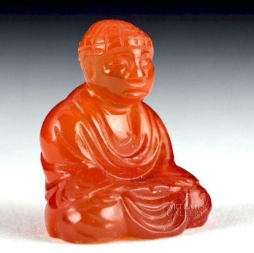 Miniature Early 20th C. Tibetan Carnelian Buddha Amulet