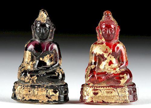 Lot of 2 Miniature Siamese Gilt Glass Buddhas