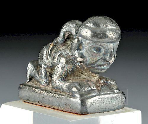 Miniature Moche Silver Figure - Crawling Man
