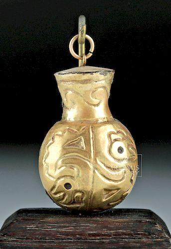 Rare Quimbaya 14K Gold Poporo Vessel - 4 g