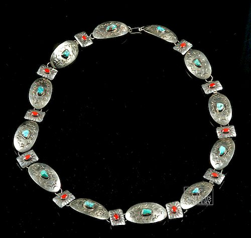 20th C. Navajo Silvered Brass, Turquoise, & Coral Belt