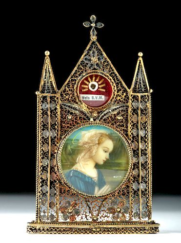 19th C. European Brass Reliquary - Veil of Virgin Mary