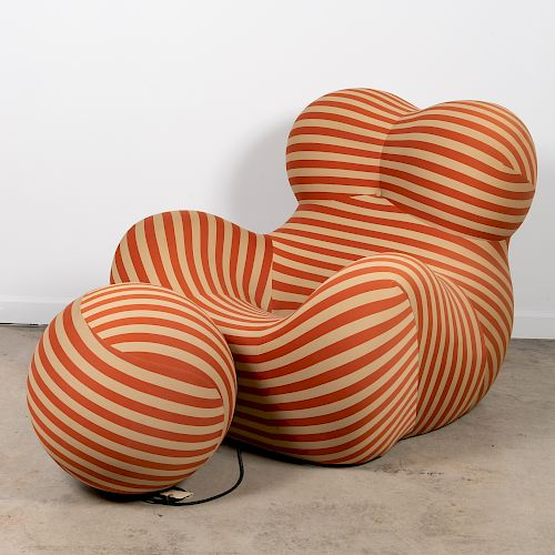 "Gaetano Pesce ""UP-5"" Red Striped Chair & Ottoman"