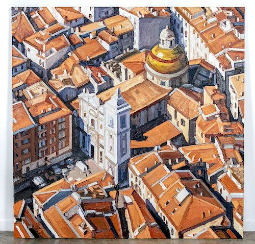 "Ralph Fleck, ""Rooftops of Nice"" - 2001, Oil"