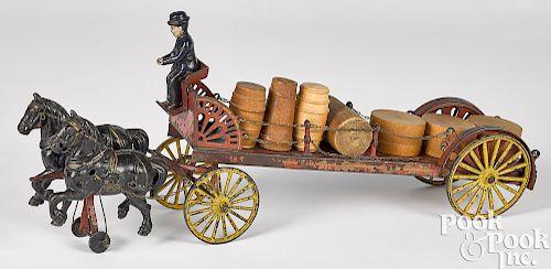 Wilkins cast iron horse drawn dray wagon