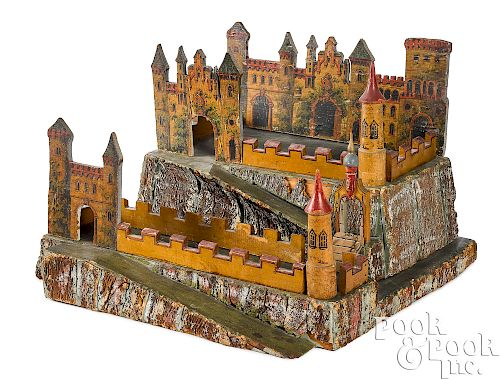 Painted wood and paper lithograph castle