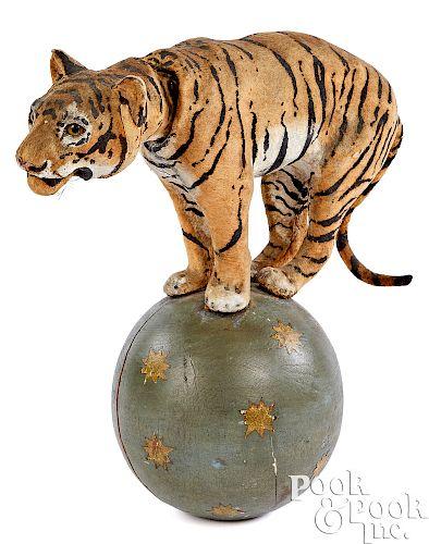 Roullet & Decamps clockwork tiger on a ball nodder