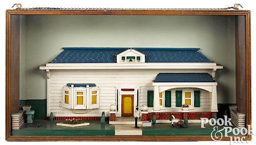 Painted bungalow façade diorama