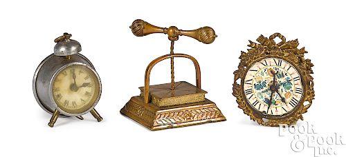 Figural book press and clock tape measures