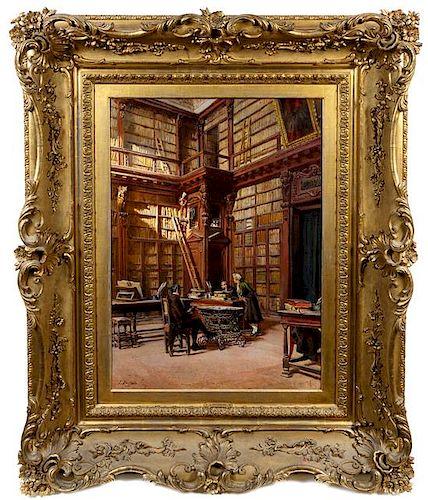 * Leopoldo Burlando, (Italian, 1841-1915), Interiors of the Ambrosian Library, Milan
