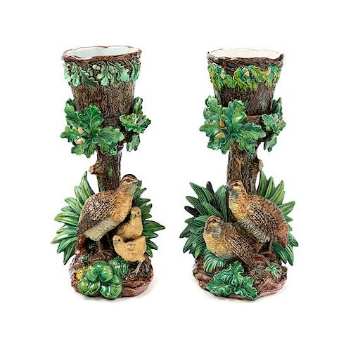 A Pair of Hugo Lonitz Majolica Quail Figural Pedestals Height of tallest 12 3/4 inches.