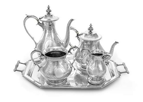 A Victorian Silver Five-Piece Tea and Coffee Service, Henry Stratford, London, 1900; William Hunter, London 1870 and John and Wi