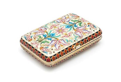 * A Russian Enameled Silver Change Purse, Assay of Ivan Lebedkin, Moscow, Late 19th/Early 20th Century, the case with polychrome