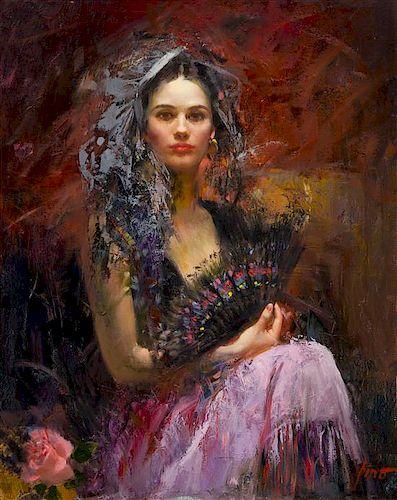 Pino Daeni, (Italian/American, 1939-2010), Untitled (Woman with a Fan)