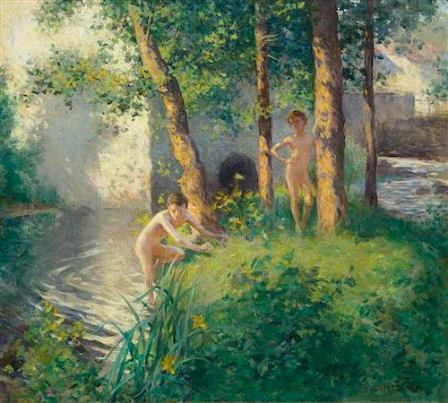 Willard Leroy Metcalf, (American, 1858-1925), The Swimming Hole or The Bathing Hole, 1886
