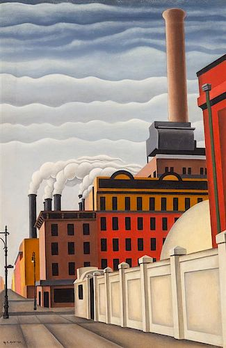 George Copeland Ault, (American, 1891-1948), Stacks up 1st Avenue at 34th Street, 1928