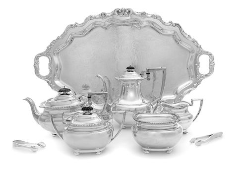 An American Silver-Plate Five-Piece Tea and Coffee Service, E. G. Webster & Son, New York, NY, First Half 20th Century, comprisi