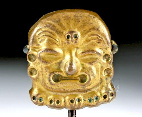 Moche Tumbaga Applique of a Deity Head - 7.3 grams