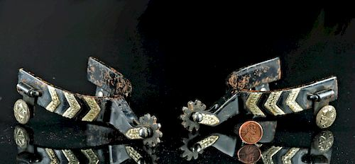 19th C. American Iron & Silver Spur Pair
