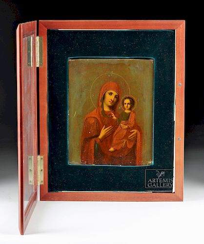 19th C. Russian Icon - Virgin & Child in Wood Kiot
