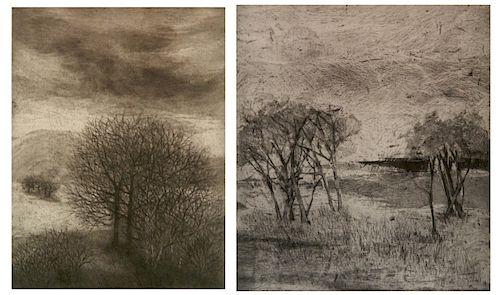 Jean Kubota Cassill 2 etchings
