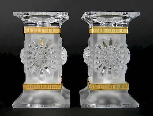 Lalique pair of frosted & molded glass candlestick